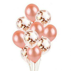 rose gold baloni s konfetima