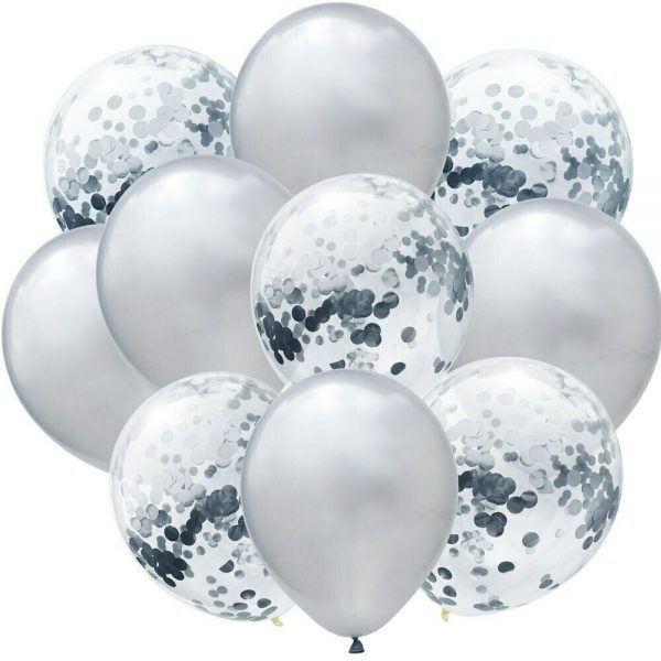 Srebrni baloni s konfetima