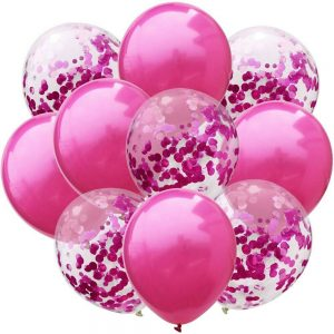 pink baloni s konfetima