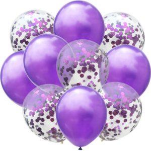 Ljubičasti baloni + baloni s konfetima 10 komada