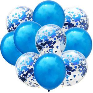 Plavi baloni + baloni s konfetima 10 komada
